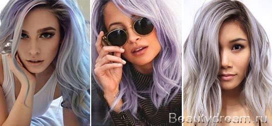 фиолетово серый цвет волос