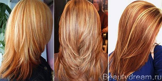мелирование на светлые рыжие волосы