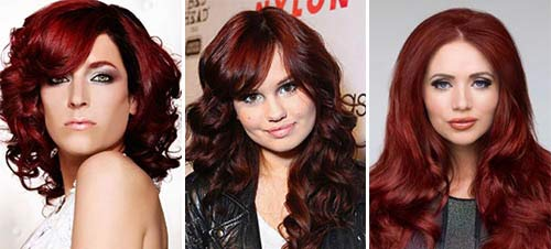 Бордовый цвет волос подойдет