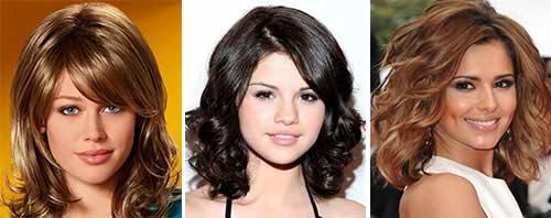 Прическа на средние волосы с челкой для полного лица фото